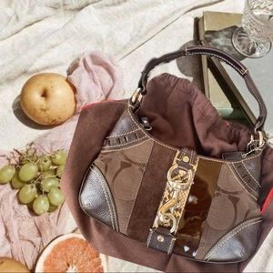 Coach 90s vintage mini brown snakeskin clip purse